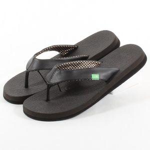 Sanuk Yoga Mat Flipflop Womens Thong Sandals Black